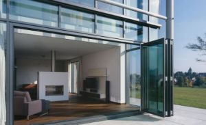 Customized Aluminum Clad Wood Bifolding Double Glazed Door pictures & photos