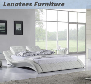 A021 Bedroom White Leater Bed with LED Light pictures & photos