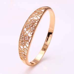 50914 Fashion Elegant 18k Gold-Plated CZ Imitation Alloy Copper Jewelry Bangle for Women pictures & photos