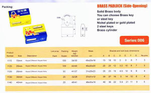Brass Padlock (SIDE -OPENING) pictures & photos