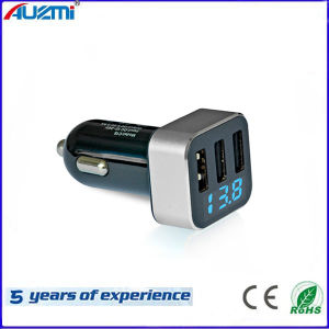 Portable 3USB Car Charger with Display