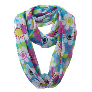 Women Fashion Flower Printed Polyester Chiffon Infinity Summer Scarf (YKY1108) pictures & photos