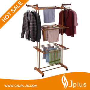 Hi Quality 3 Layer 24 Rods Cloth Rack Laundry Hanger with Wheels for Drying Clothes Jp-Cr300W pictures & photos