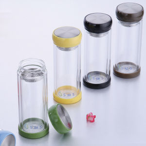 Colorful Plastic Double Wall Glass Water Bottle pictures & photos