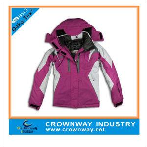 Women Outdoor Waterproof Ski Jacket with Adjustable Hook & Loop Flap pictures & photos