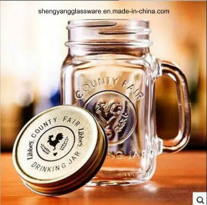 Rooster Class Handle Cup with Metal Lid/Glass Jar pictures & photos