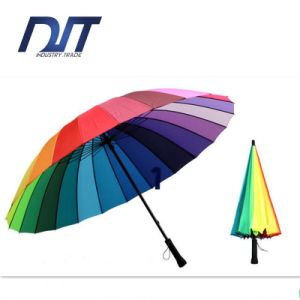 OEM Custom Rainbow Umbrella Double Hand Straight Shank 24k Steel