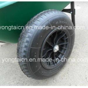 5 Cubic Feet Green Poly Tray Garden Wheelbarrow with 2-Wheels pictures & photos
