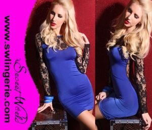 Wholesale Sexy Follower Lace with Sleeve Clubwear Party Lingerie Dress 5403-Blue