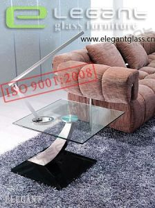 Glass End Table, Stainless Steel Fibre Drawing -CA132