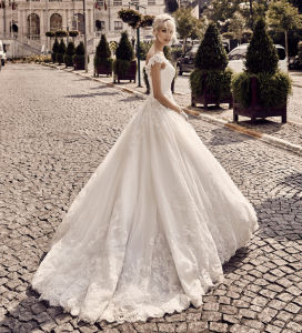 Simple and Beautiful Mermaid Boat Neck Covered Back Lace Satin Custom Made Wedding Dress (MN1062)