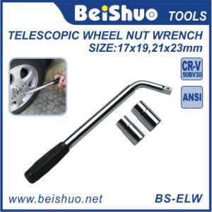 Extendable Telescopic Lug L-Type Wheel Brace Wrench with Socket pictures & photos