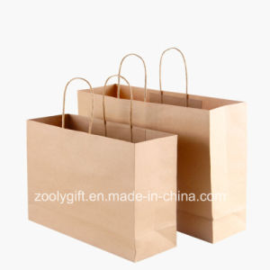 Wholesale Cheap Recycle Brown Kraft Paper Carrier Bags with Twisted Handle pictures & photos