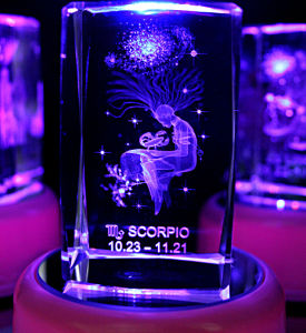Scorpio Laser Etched Crystal Cube (JC43788CL)