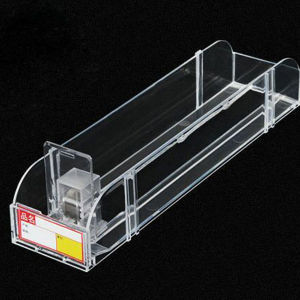 Acrylic Cosmetic Display Rack Used Plastic Shelf Pusher