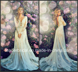 Sheer Bodice Wedding Ball Gown Lace Full Sleeves Bridal Wedding Dress L26312 pictures & photos