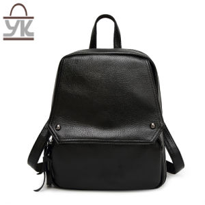 Fashion Super Capacity Black PU Leather Lady Backpack pictures & photos