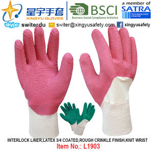 Interlock Liner, Latex 3/4 Coated Gloves (L1903) , Rough Crinkle Finish, Knit Wrist with CE, En388, En420, Work Gloves pictures & photos