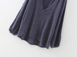 Womens V-Neck Casual Long Sleeve Loose Fit Blouse T-Shirt pictures & photos