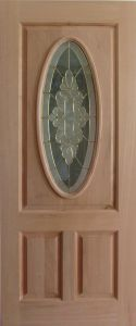 Pure Mahogany Solid Wood Door with Glass