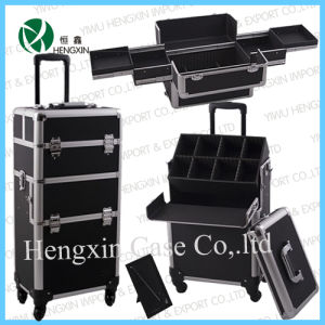 Aluminum Trolley Makeup Case, Cosmetic Vanity Beauty Case (HX-GT002) pictures & photos