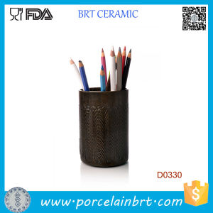 Brown Cylindrical Home Decorative Ceramic Pen Container pictures & photos