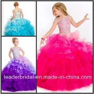 Beading Girl′s Pageant Ball Gown Organza Flower Girl Dress Fl2151 pictures & photos