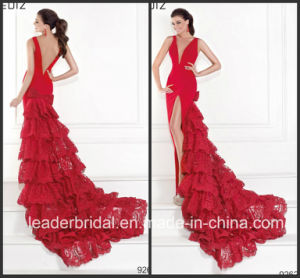 Red Split Tarik V-Neck Prom Party Dress Tiered Lace Evening Dress T92624 pictures & photos