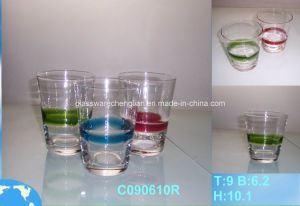 Whiskey Glass Cup with Solid Colorful Glass Lines (CO90610R) pictures & photos