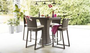 Well Furnir Brown Color 4 Seat Square Bar Set with Ice Bucket Rattan Garden Set T-042 pictures & photos