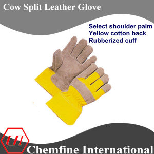 Select Shoulder Palm, Yellow Cotton Back, Rubberized Cuff Leather Work Gloves pictures & photos