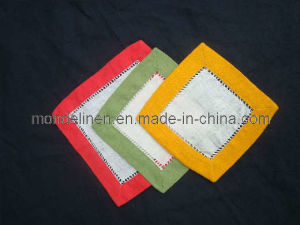 100% Linen Coaster with Color Border (CA-002)