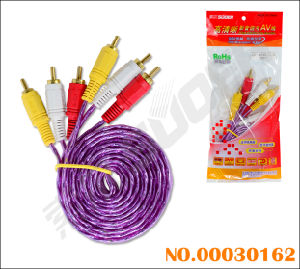 3 RCA to 3 RCA AV Cable with Golden Connector Component Cable (AV-306L-1.8m-gold -purple-red Packing) pictures & photos