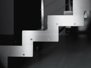 Interior Double Steel Plates Stairs with Laminated Tempered Glass Tread for Residential Bulding pictures & photos