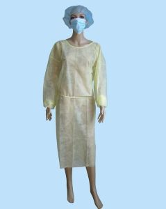 Disposable Non Woven Isolation Gown with Collar, Elasticated Wrists pictures & photos
