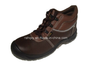 Professional Coffee Leather MID-Cut Safety Shoe (HQ1317) pictures & photos