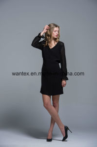 Ladies Dress 100% Polyester Spring Autumn Fashion Hollow Sleeve Perspective Black pictures & photos