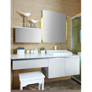 Oppein White Lacquered Integrated Corner Bathroom Cabinet (OP14-008) pictures & photos