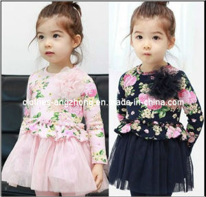 Baby Girl Pink Long Sleeve Printed Flower Dress (aznac0621001)