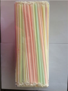 Colorful Paper Wrapped Straight Plastic Drinking Straw pictures & photos