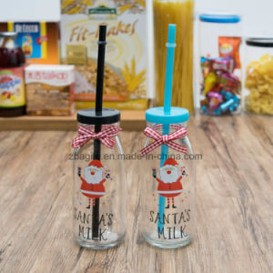 Christmas Style Glass Bottle with Straw pictures & photos