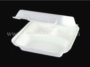 Biodegradable Compostable Sugarcane Bagasse Lunch Box 8 Inch, 3comp Box pictures & photos