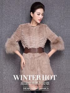 Women′s Three Quarter Sleeve Rabbit Fur Coat with Fox Fur Cuff pictures & photos