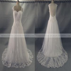 a-Line Open Back White Lace Wedding Dress