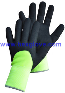 7 Gauge Acrylic Thermal Liner Plus, 13G Nylon Outer Liner, Nitrile Coating, 3/4sandy Finish Work Glove pictures & photos