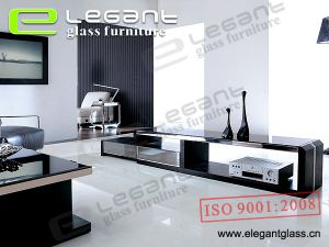 TV Stand With 8mm Glass Top and 2 Drawers -T328 pictures & photos