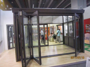 Double Tinted Aluminum Folding Door with Mosquito Nets (TS-354) pictures & photos