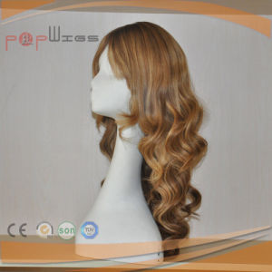 Human Blond Curly Skin Top Hand Tied Lace Front Wig pictures & photos