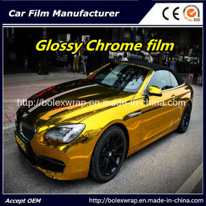 Gold Glossy Chrome Vinyl Film for Car Wrapping Car Wrap Vinyl pictures & photos