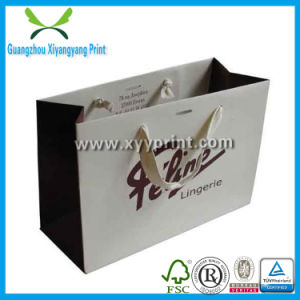 Wholesale White Kraft Paper Shopping Bags with Ribbon Handles pictures & photos